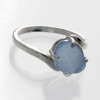 A nice demure ring in solid sterling silver and with light blue or periwinkle sea glass. We must sort though thousands of pieces of sea glass to find the perfect fit for our ring settings. Prong settings are great for sea glass as it allows me to remove the sea glass for resizing.