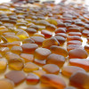 There are many shades of brown and amber sea glass but this color, bright amber is the most popular.