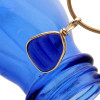 A nice perfect piece of vivid ridged cobalt blue sea glass done in our Original Wire Bezel©2000 setting, it fully secures the glass while leaving both front and back open so you can reach up and feel this antique sea glass.