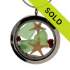 Green sea glass and vivid red gemstones make this a great locket necklace for the holidays. SOLD