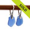 Genuine blue sea glass earrings on sterling leverbacks