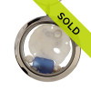 Cobalt blue combined with a real sandollar and fresh water pearls in this one of a kind sea glass locket necklace. Real beach sand from Florida completes your own personal beach on the go!