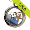 Small pieces of natural beach found blue  sea glass combined with a real starfish, vintage sea fan and beach sand for your own personal beach on the go!