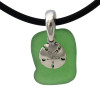 """Bright green sea glass set on a solid sterling cast bail and finished with a solid sterling sandollar charm. The sea glass necklace comes on our 18"""" solid black neoprene necklace. (SHOWN and included)"""