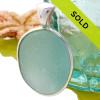 Flat Aqua Blue Sea Glass In Sterling Deluxe Wire Bezel Setting©