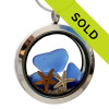 You Me and The Sea -  Real Blue Sea Glass Locket With Starfish & Sand