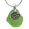 Green Sea Glass With Sterling Mom Charm - S/S CHAIN INCLUDED