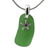 Smaller green sea glass is combined with a solid sterling starfish sea shell and presented on an 18 Inch solid sterling snake necklace chain. A great sea glass necklace for any beach lover!