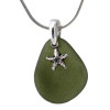 A perfect piece of olive or jungle green sea glass is combined with a solid sterling starfish sea shell and presented on an 18 Inch solid sterling snake necklace chain. A great sea glass necklace for any beach lover!