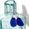 Small Thick Blue Genuine Sea Glass Earrings In Sterling Wire Bezel©