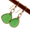 Lovely unaltered genuine beach found sea glass earrings in gold