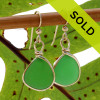 Natural Genuine UNALTERED sea glass pieces in a unusual green expertly wrapped in 14K Rolled Gold for a lovely classic pair of genuine beach found sea glass earrings!
