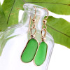 Natural Genuine sea glass pieces in a unusual green  wrapped in 14K Rolled Gold for a lovely classic pair of genuine beach found sea glass earrings!