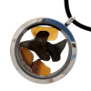 This locket necklace comes with an 18 inch Neoprene Cord (Shown) with solid sterling silver claps.