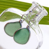 Unusual green sea glass piece left just the way they were found on the beach in Puerto Rico set in our Original Wire Bezel© sea glass earring setting.