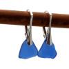 Cobalt Blue Genuine Beach Found Sea Glass On Silver Leverback Earrings