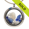 Cobalt Blue beach found sea glass and an Ultra Rare Opaque Blue sea glass piece are combined with a small sandollar and genuine fresh water pearls in this one of a kind sea glass locket necklace. Sorry this sea glass jewelry selection has been sold!
