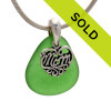 For MOM - PERFECT Vivid Green Sea Glass With Sterling Mom Charm - S/S Snake CHAIN INCLUDED