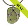 Jungle Green Sea Glass Necklace With Kissing Dolphins Charm - S/S CHAIN INCLUDED
