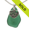 A beautiful piece of PERFECT dark aqua green sea glass on a cast sterling bail with a sterling MOM charm. An 18 inch solid sterling snake chain IS INCLUDED Sorry this sea glass jewelry piece has been sold!