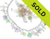 This necklace COMES WITH coordinating earrings to complete the set...Earrings are on top grade professional french ear wires but other options are available below.  This beautiful pastel sea glass in lemon yellow, UV green, lavender and peach all hails from Mendocino California. Top Quality well frosted and most likely originates form depression era decorative housewares.