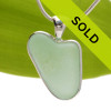 A beautiful seafoam green natural sea glass heart set in our deluxe wire bezel setting! Sorry this sea glass jewelry piece has been sold!