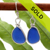 Perfect shaped cobalt blue sea glass pieces set in our Original Wire Bezel© setting. This pair comes on quality sterling silver lever back ear wires.