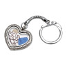 Blue  beach found sea glass and a small shells and sea fan in this heart shaped keychain