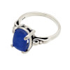 A beautiful vivid cobalt blue sea glass piece in a silver ring.