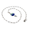 A simple blue sea glass anklet for your beach trips this summer.  Solid Sterling starfish charm and a delicate long and short chain with soldered utility links ensure this piece will remain with you always!