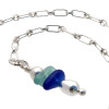 A simple blue and aqua sea glass piece with teardrop bead on this adjustable sea glass ankle bracelet.