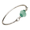 Three pieces of beach found sea glass in thick and perfect aqua green and a rich deep aqua on this solid sterling silver full round sea glass bangle bracelet.