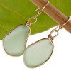 HUGE Seafoam green sea glass earrings in rolled 14K Gold (14K goldfilled).