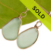 HUGE Seafoam Green Genuine Sea Glass Earrings In Gold Original Bezel©