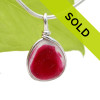 A vivid mix of hot pink and pure white EndoDay sea glass from England set in our Original Wire Bezel© necklace pendant setting. Sorry this sea glass jewelry piece has been sold!