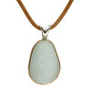 A perfect piece of LARGE Seafoam Green Certified Genuine Sea Glass in a goldfilled necklace. This piece comes on this spectacular gold vermeil mesh chain.