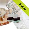 Triple Stack - Genuine Sea Glass Earrings Stack in White, Brown & Aqua In Sterling