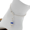 A simple blue and white sea glass anklet for your beach trips this summer.  Solid Sterling starfish charm and a delicate long and short chain with soldered utility links ensure this piece will remain with you always!