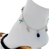 Aqua sea glass pieces combined with solid sterling beach charms and frosted cobalt blue beads on this silver ankle bracelet. All utility links are soldered for a lifetime of surety.