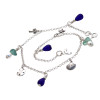 A mac daddy sea glass anklet with 5 solid sterling beachy charms and real sea glass from Hawaii.