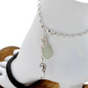 Solid sterling silver anklet with a bezel set seafoam green sea glass and a silver seahorse charm.