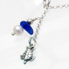 Detail of blue sea glass anklet dangle