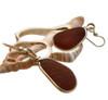 Genuine Brown Sea Glass Earrings in a classic gold bezel setting