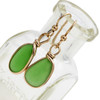 Natural Genuine UNALTERED sea glass pieces in a unusual green expertly wrapped in 14K Rolled Gold for a lovely classic pair or earrings!