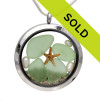 Genuine seafoam green sea glass pieces combined with a real starfish, pearls and real beach sand in this JUMBO 35MM stainless steel locket. Sorry this locket has been sold!