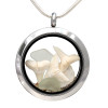 Three white sun bleached sharks teeth and white sea glass in this fun to wear sea glass locket necklace.