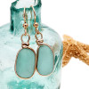 Tropical aqua sea glass from Hawaii is set in our Original Wire Bezel© setting for a stunning pair of 14K gold filled earrings.  This is the EXACT pair you will receive!