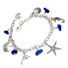 Genuine blue beach found sea glass combined with sea inspired charms for a lovely classic sea glass bracelet.  ALL of our sea glass charm bracelets are on fully soldered chains with soldered utility links for a lifetime of surety and enjoyment.