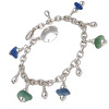 Vivid bright blue and aqua green sea glass on a solid sterling silver charm bracelet. ALL of our sea glass charm bracelets are on fully soldered chains with soldered utility links for a lifetime of surety and enjoyment.