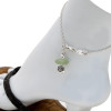 Simple sea glass ankle bracelet in silver with flower